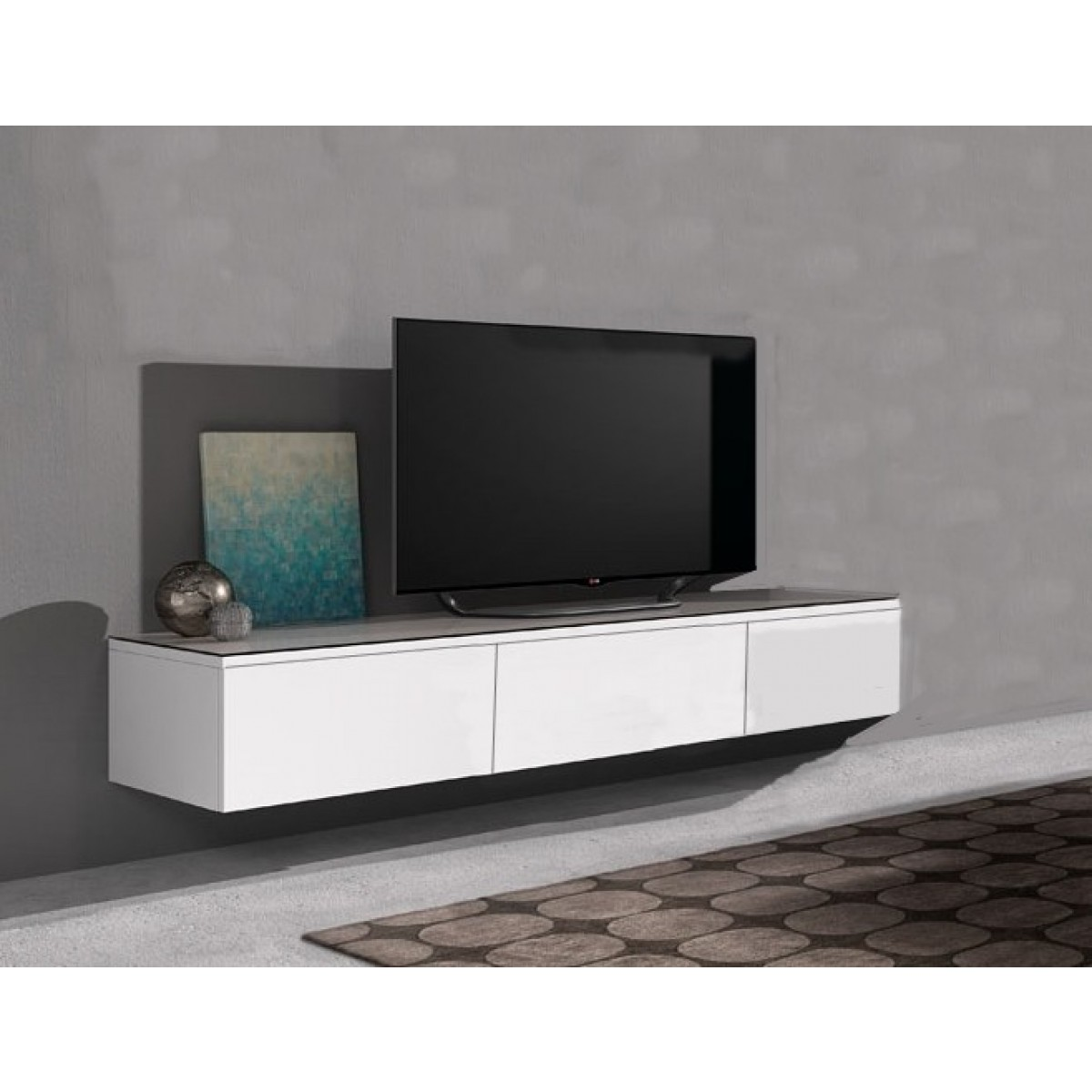 Hängend TV lowboard Float 166 cm