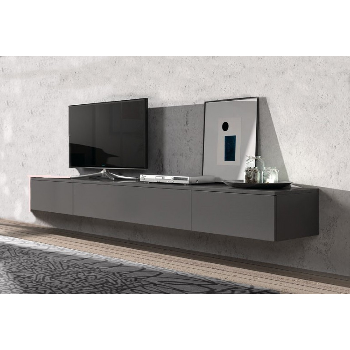 h ngend tv lowboard float 221 cm i live design. Black Bedroom Furniture Sets. Home Design Ideas