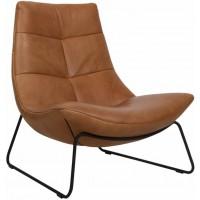 rebound-fauteuil-sledeframe-zwart-rancho-cognac