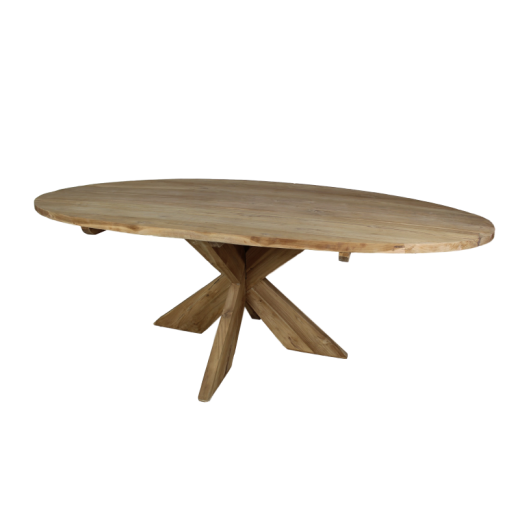 Esstisch Oval Teakholz X3D-bein